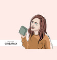 blogger making giveaway woman giving gift social vector image