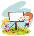 Boy and girl reading vector image