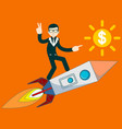 businessman flying on a rocket on sky background vector image