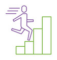 businessman run up ladder diagram bars success vector image vector image