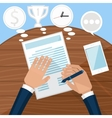 Businessman signs up document vector image