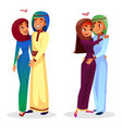 cartoon arab muslim couples hugging vector image vector image