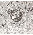 Cartoon cute doodles Winter season frame design vector image vector image