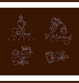 coffee pen line signs brown vector image vector image