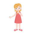cute cartoon girl showing big diamond ring on vector image vector image