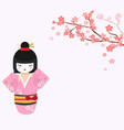 cute japanese doll with cherry tree branch vector image