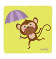 cute monkey and umbrella vector image vector image