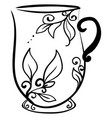 decorative cup drawing on white background vector image
