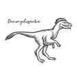 deinonychosauria dinosaur sketch dino etching vector image vector image