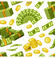 dollars and cents money banknotes and golden cents vector image vector image