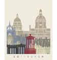Edinburgh skyline poster vector image vector image