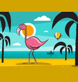 flamingo bird on tropical island with palm trees vector image vector image
