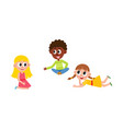 flat boy and girls sitting lying at floor vector image vector image