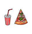flat fast food objects set isolated vector image vector image