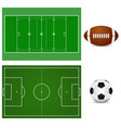 football field and soccer ball american football vector image vector image