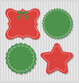 four christmas labels in green and red vector image