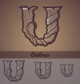 Halloween decorative alphabet - U letter vector image vector image
