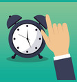 hand touch alarm clock time concept vector image
