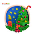 handmade modeling clay round greeting card for vector image vector image
