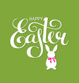 happy easter lettering with bunny and bow vector image vector image