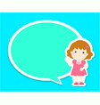happy little girl kid with empty speech bubble vector image vector image