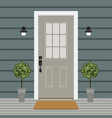 house door front with window and plants flat vector image vector image