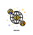 icon two abstract people and globe for freelance vector image vector image