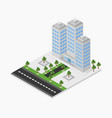 isometric skyscraper in on white background vector image vector image