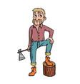 lumberjack on white background cute cartoon vector image