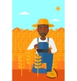 Man with tablet computer on field vector image vector image