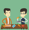 men cooking healthy vegetable meal vector image