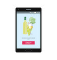 mobile application lets to order white wine vector image vector image
