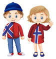 norwagian boy and girl in dress with norway flag vector image vector image