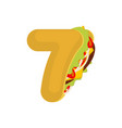 number 7 tacos mexican fast food font seven taco vector image vector image