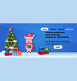 pig holding gift box standing near fir tree happy vector image vector image