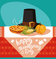 pilgrim hat of thanksgiving day with set icons in vector image vector image