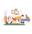 push ups or mountain climber home sports training vector image