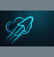 rocket cloud abstract wire low poly polygonal vector image vector image