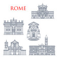 rome famous buildings architecture landmarks vector image vector image