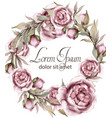 roses delicate wreath frame watercolor vector image vector image