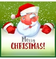 Santa winks and holding typography card vector image vector image