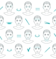 Seamless pattern of face plastic surgery Flat vector image