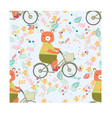 seamless pattern teddy bear ride bicycle in vector image