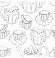 Seamless pattern with outline style tea service vector image