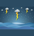 seascape rain in sea with lightning paper art vector image vector image