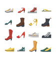 set of flat-style shoes colored isolated men and vector image vector image