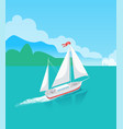 ship or sailboat on water with trees on horizon vector image