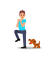 small angry dog barking at man young guy in vector image