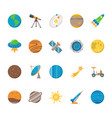 space exploration icons set in flat style vector image