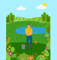 summer holiday man fishing lake pond vector image vector image